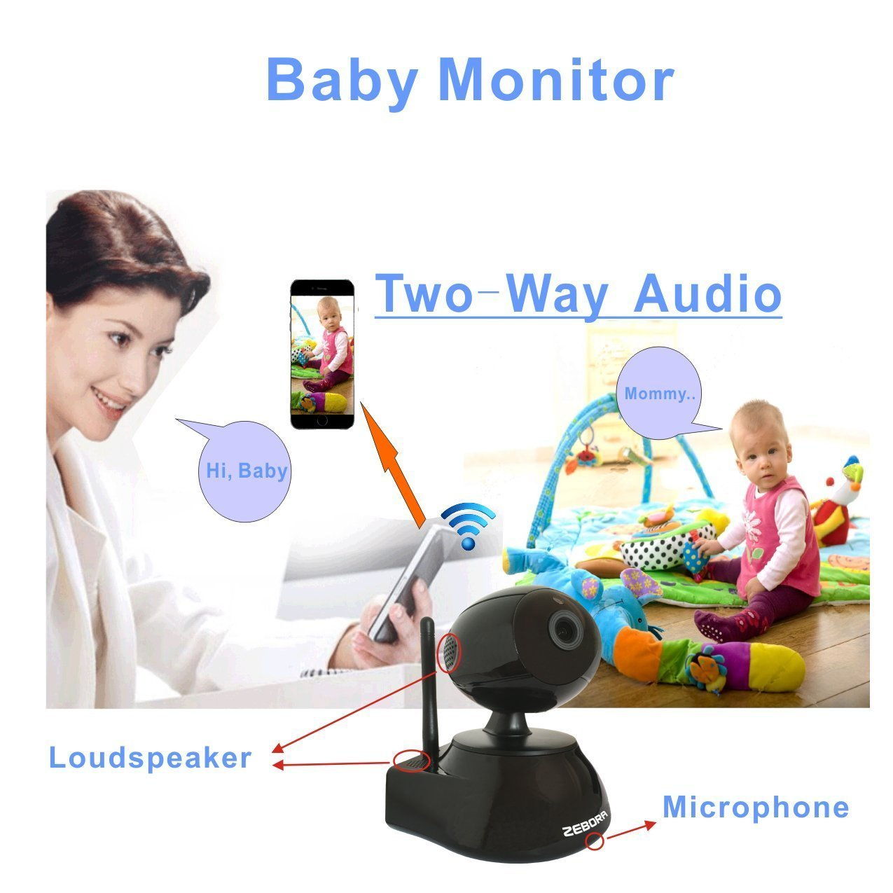 Zebora 960P Remote Controlled Internet WiFi Wireless Network//IP Camera for Surveillance,Home Security,Pet,Nanny and Baby Monitor with Motion Detection,Two-way Audio and Night Vision 2016 New Release