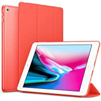 Robustrion Smart Trifold Hard Back Flip Stand Case Cover for New iPad 9.7 inch 2018/2017 5th 6th Generation - Red