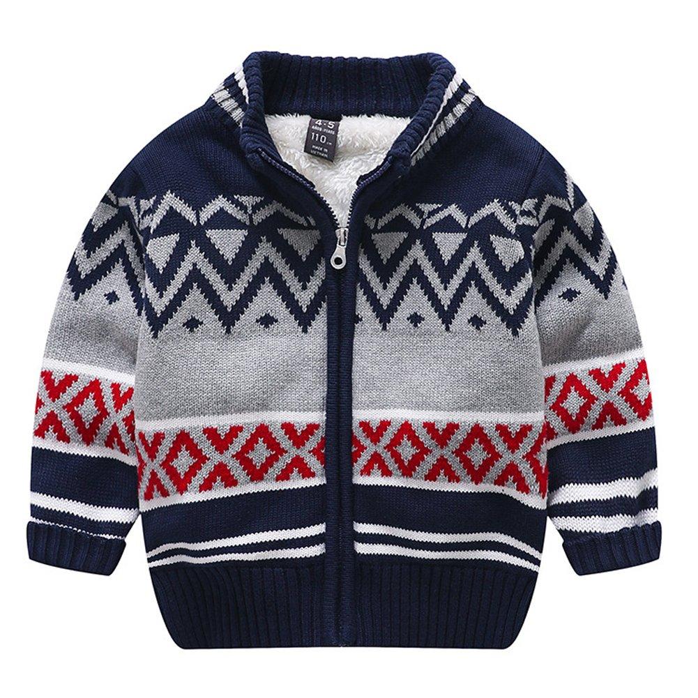 Boys Girls Winter Knitted Pattern Long Sleeve Sweaters Cardigan Warm Outerwear Jacket (T5-6, Gray) by Kedera