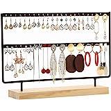 Sooyee 2-Tier 46 Holes Earring Display Holder,Metal 2 Layers Jewelry Storage Organizer Wood Stand Tree,Ear Stud Rack Gift for