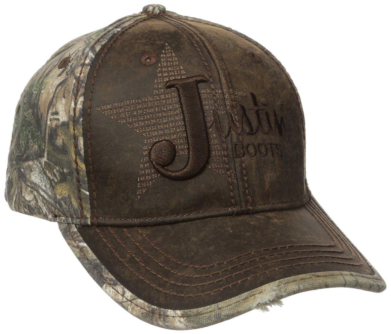Justin Boots Men s Wax Cloth Camo Back Panel Ball Cap with Justin Star Logo 93c0e069bcfc