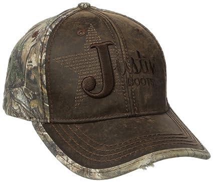 406b091ea Justin Boots Men's Wax Cloth Camo Back Panel Ball Cap with Justin Star  Logo, Brown