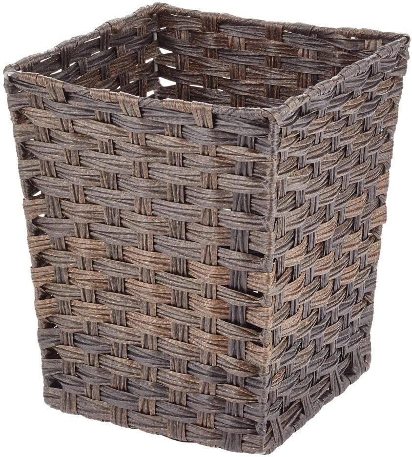 mDesign Small Woven Basket Trash Can Wastebasket - Square Garbage Container Bin for Bathrooms, Kitchens, Home Offices, Craft, Laundry, Utility Rooms, Garages - Espresso Brown