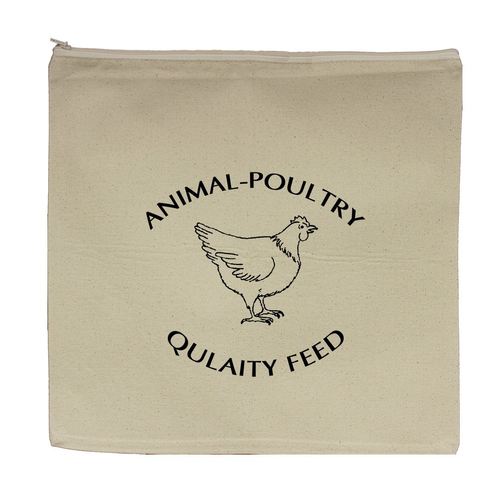 Animal Poultry Quality Feed Canvas Zipper Tote Bag Makeup Bag