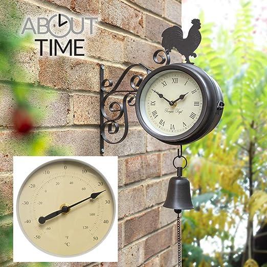 Primrose Hora de Soporte de Gallo y Bell jardín al Aire Libre Reloj y termómetro – 47 cm (18 3/4 en): Amazon.es: Jardín