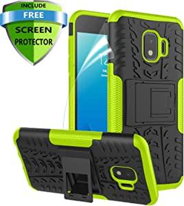 RioGree Phone Case for Samsung Galaxy J2 / Core / J2 Dash /J2 Pure Case, Heavy Duty Cell Phone Shockproof with Kickstand Cover Skin TPU,Green