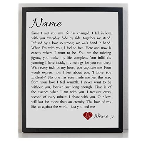 personalised love poem framed print you me birthday christmas valentines day