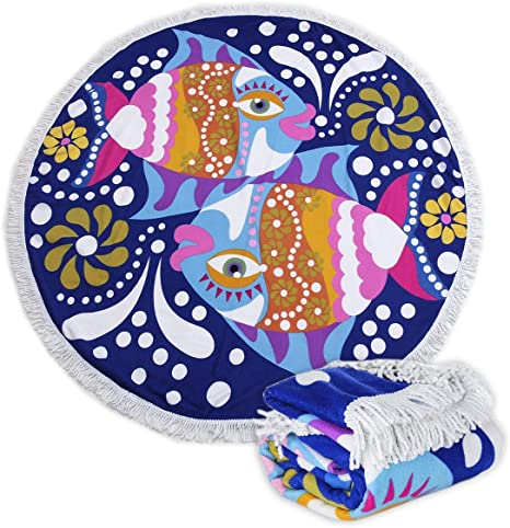 Round Picnic Mat Beach Towel  with Tassels Ultra Soft Super Water Absorbent