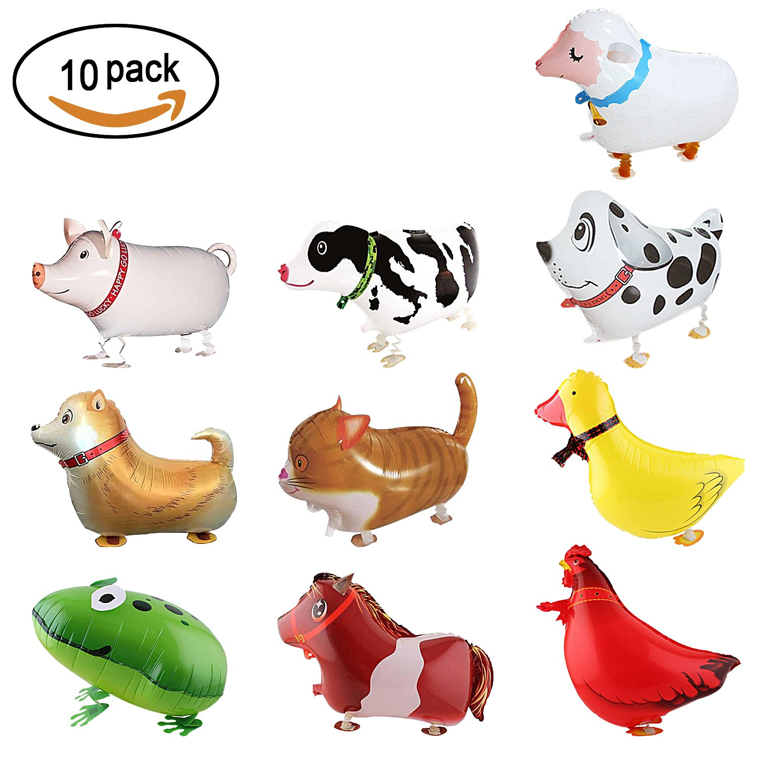 SOTOGO 10 Pieces Walking Animal Balloons Farm Animal Balloon Birthday Party BBQ Party Décor(Pony,Duck,Rooster,Cow,Pig,Sheep,Spotted Dog,Sheepdog,Frog,Cat)