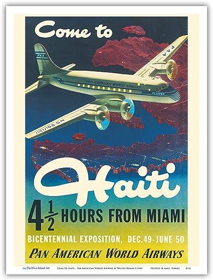 """Pan American Air Lines 8.5/"""" x 11/""""   Travel Poster HAITI"""