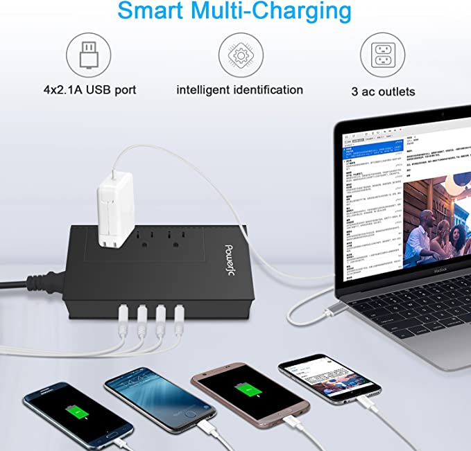 Travel Power Voltage Converter Adapter Rated Power 1875w 220V to 110V with 4 USB Smart Charging ETL Certification Powerjc Black 4350280143