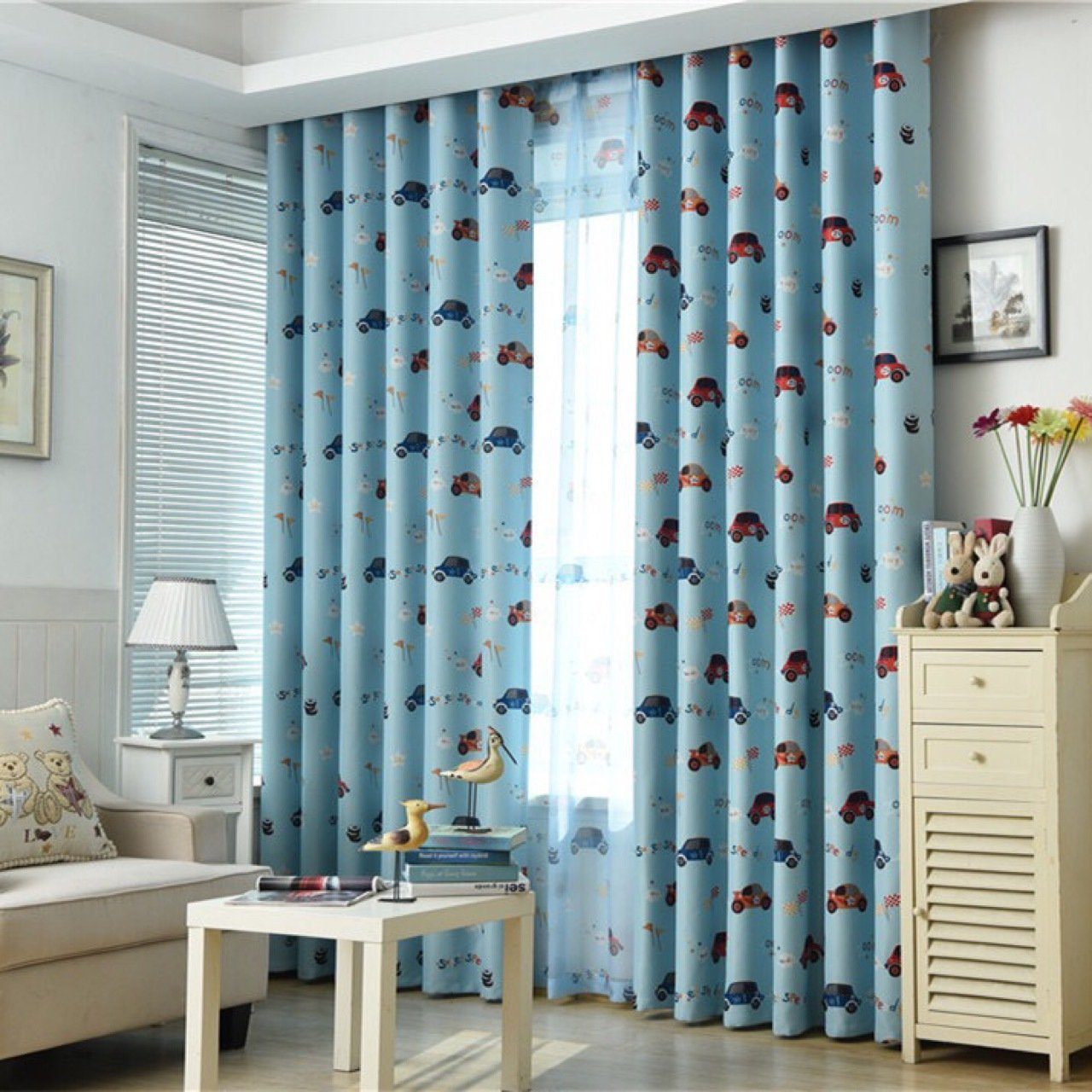 TIYANA Cartoon Print Cloth Curtains Metal Grommet Thermal Insulated Semi Blackout Curtain Panel for Boys Bedroom 96 inches long, 1 Piece, Cartoon Cars, Blue