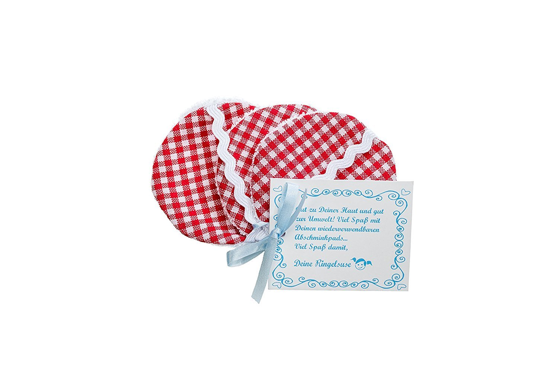 Discos desmaquillantes reutilizables de tela para limpieza facial algodones desmaquillantes algodón 6 cm cuadros rojo blanco Comercio justo Ringelsuse: ...