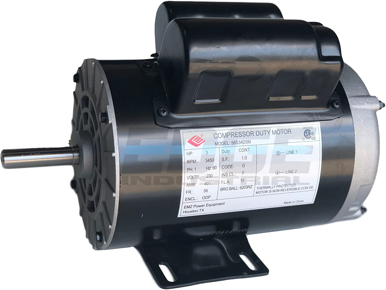 3 HP Electric Motor 1 Phase 56 Frame 3450 RPM 115-230 Volts New