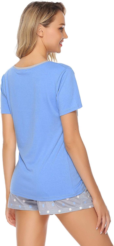 Hawiton Damen Schlafanzug Kurz Baumwolle Pyjama Sommer Nachtw/äsche Nachthemd Hausanzug Kurzarm V Ausschnitt