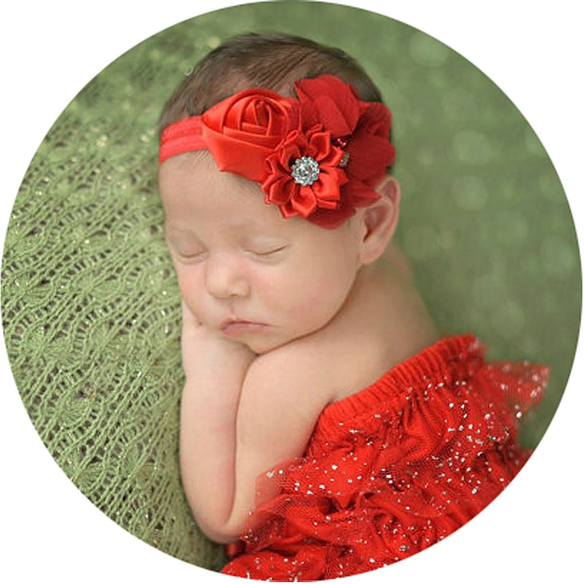 Baby Girl Hair Bow Christmas Holiday Red Chiffon Flower Pearl Newborn Headband