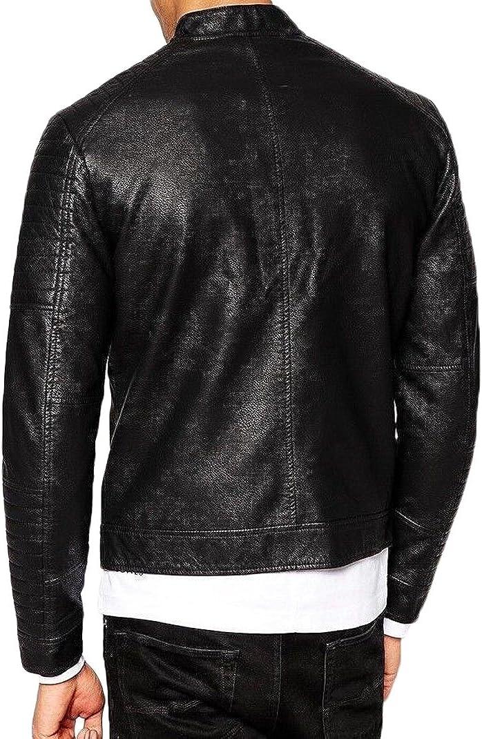 Men Leather Jacket New Soft Cow Leather Slim Biker Bomber Coat LFC1326