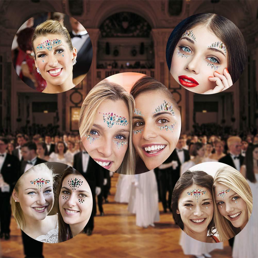 Ciaoed Strass Juwelen Face Tattoo,Acryl Face Sticker Regenbogen Tränen Kristall Glitzersteine Glitter Temporäre Glitzer Kostüm Gesicht Edelsteine Aufkleber für Parties,Maskerade,Rave Festival(4 Stück)