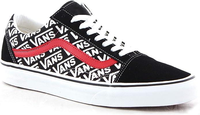 Vans Old Skool Sneakers Damen Herren Unisex Schwarz/Weiß/Rot mit Vans Logo