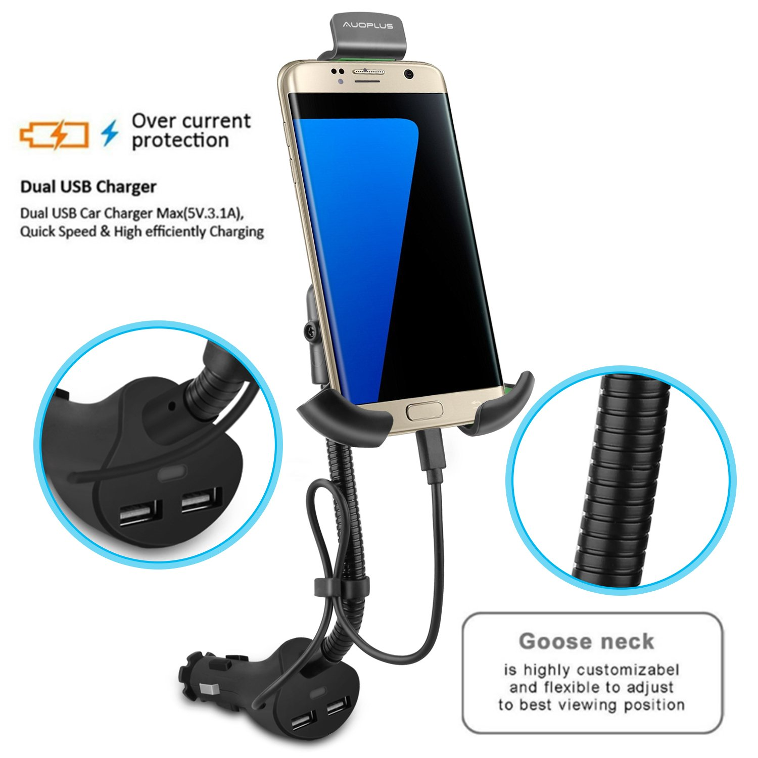 AUOPLUS Gooseneck Car Outlet Mount Cigarette Lighter Phone Holder Charger with Built-in Charging Cord for Samsung Galaxy and More Android Smartphones by AUOPLUS (Image #5)