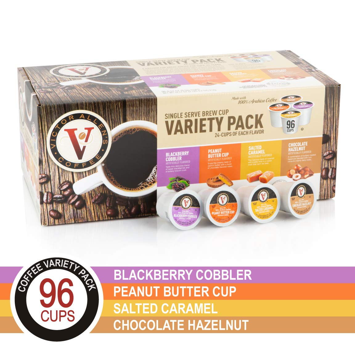 Peanut Butter Cup, Salted Caramel, Blackberry Cobbler, and Chocolate Hazelnut Variety Pack for for K-Cup Keurig 2.0 Brewers, 96 Count, Victor Allen's CoffeeSingle Serve Coffee Pods