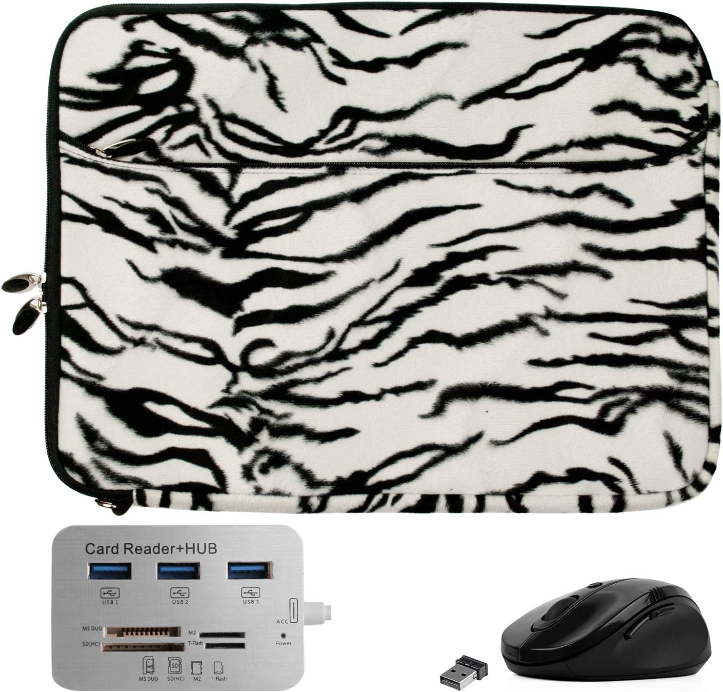 Fashion Faux Fur Zebra Laptop Sleeve 15 15.6 inch for Apple MacBook Pro 15 inch (Includes Mouse and USB C Hub)