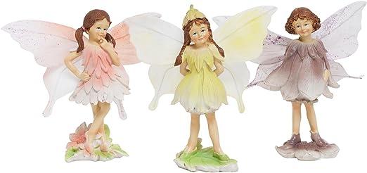 Juego de 3 Figuras Decorativas de Jardín de Hadas con Flores de pie: Amazon.es: Jardín