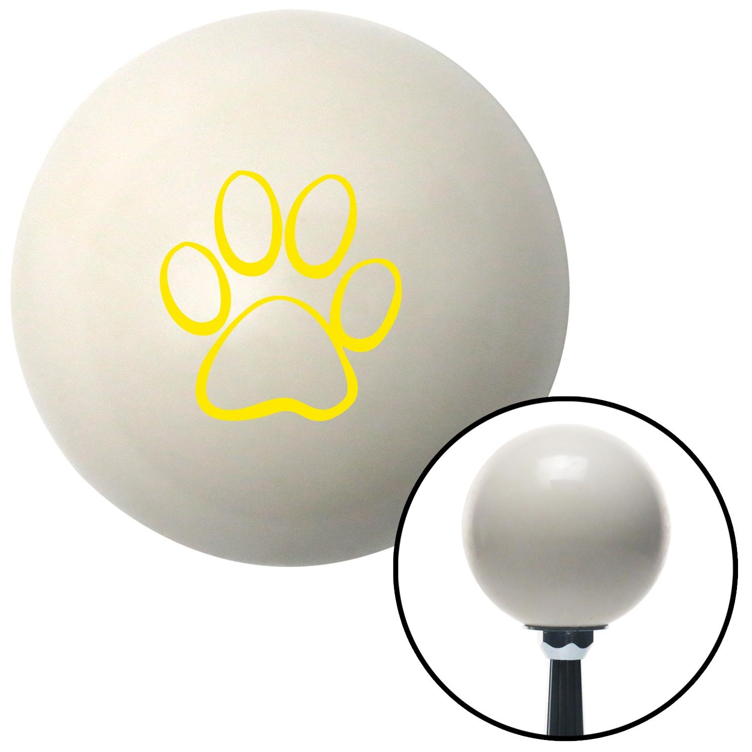 Yellow Paw Print Outline American Shifter 76005 Ivory Shift Knob with M16 x 1.5 Insert