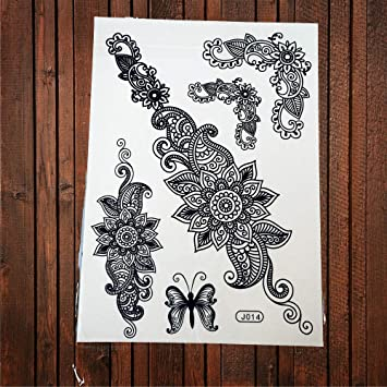 45a50ecf4 Amazon.com : Lace Black Henna Temporary Tattoo Sticker Owl Mandala  Waterproof Fake Tattoo Body Art Women Bracelet Tatoo Paste ABJ014 : Beauty