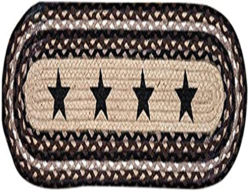 Earth Rugs 49-ST313 Black Stars Printed Oval Stair Tread, 8.25 by 27