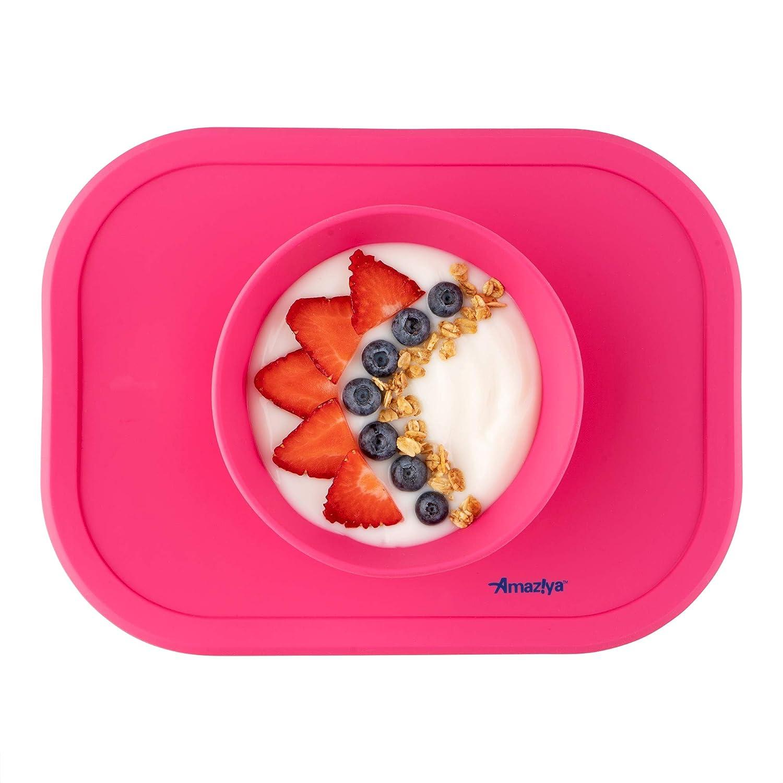 Amaziya Silicone Baby Bowl, Baby Food Mat with Nonslip Silicone Base (Coral)
