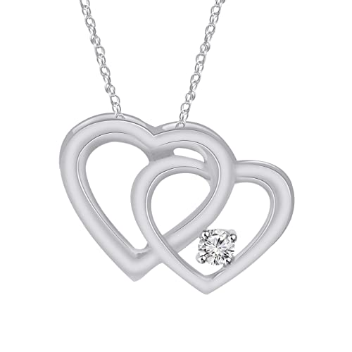 64565c96a2e6 Image Unavailable. Image not available for. Color  Pretty Jewels Real  Silver Forever Hearts Necklace ...