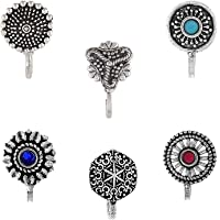 Om Jewells Silver Oxidise Jewellery Combo of 6 Designer Nosepin/Nosering for Girls and Women CO1000175