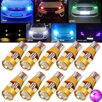 TUINCYN Bombilla LED T10 de color morado con forma de cuña sin errores, 27-
