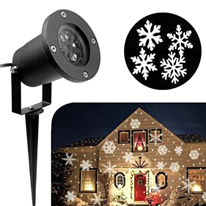 Amazon.com: 2018 Newest Christmas Lights, White Moving Snowflake ...