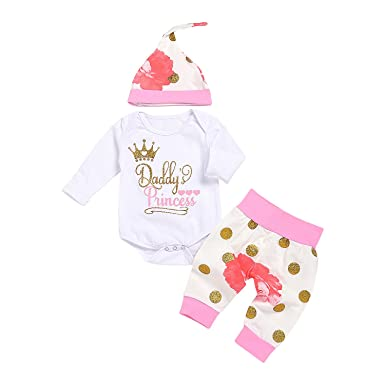 137e6e0fd AlwaysFun Newborn Baby Girls Daddy's Princess Crown Bodysuit Tops Floral  Dot Pants Hat Outfits Set