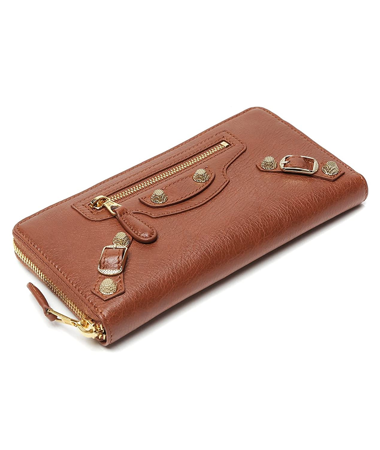 Wiberlux Balenciaga Women's Buckle Accent Zip-Around Long Real Leather Wallet