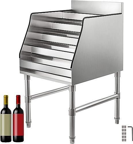 VBENLEM 18×23 Inch Liquor Bottle Display Shelf 5-Tier Stainless Steel Liquor Display Rack Wine Bottle Holder Rack Storage Stand