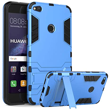 WLDDWL Funda Huawei P8 Lite 2017, Carcasa Ultra Fina Antigolpes Antideslizante de TPU y PC Robusta con Soporte para Huawei P8 Lite 2017 (Azul)