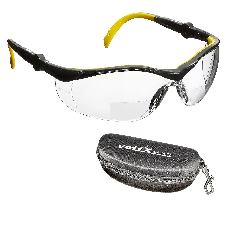 voltX GT Adjustable Bifokale Lesen Schutzbrille (KLAR +2.0 Dioptrie), CE EN166FT Zertifiziert, Anti-Beschlag Beschichtung + Sicherheitsetui mit steifem Clamshell Verschluss – Bifocal Safety Glasses StraightLines Others