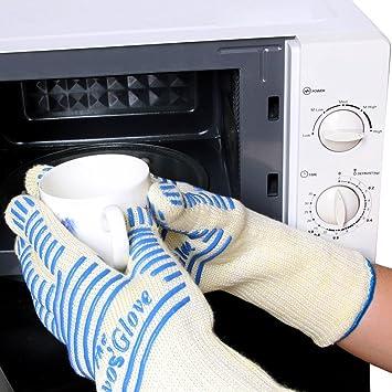 Guantes de la parrilla de ovos 1pair guantes extremadamente a prueba de calor del pote hasta