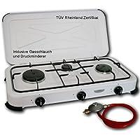 DF-Outdoor Gaskocher Hochwertiger Campingkocher Gas Kocher 4 flammiger Kocher/Wähle aus 4 o. 3 Flammig - Inkl.80cm Schauch und Druck-Minderer Tüv Rheinland