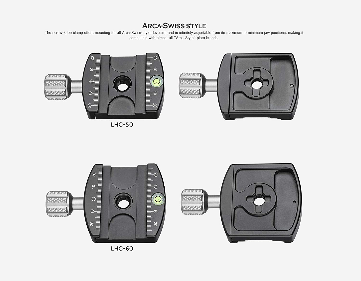 Leofoto LHC-60 60mm Screw-Knob Clamp with Plate//ARCA//RRS Ball Head Compatible