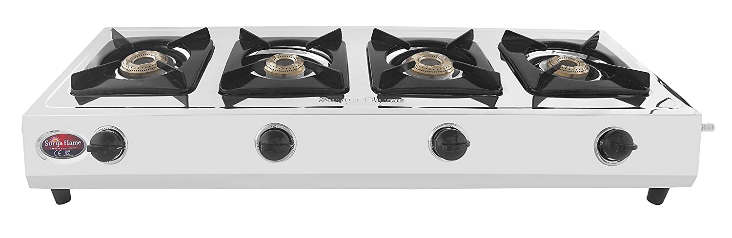 SuryaFlame LPG Gas Stove 4B ISI, CE & PCRA Certified with 2Years Door-Step Warranty