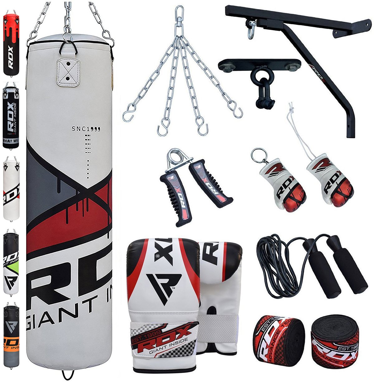 Punching bag, gloves, ropes and other gear