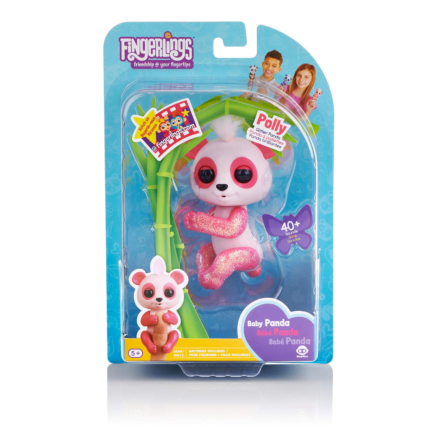 WowWee Fingerlings Glitter Panda - Polly - Interactive Collectible Baby Pet, Pink by WowWee (Image #7)