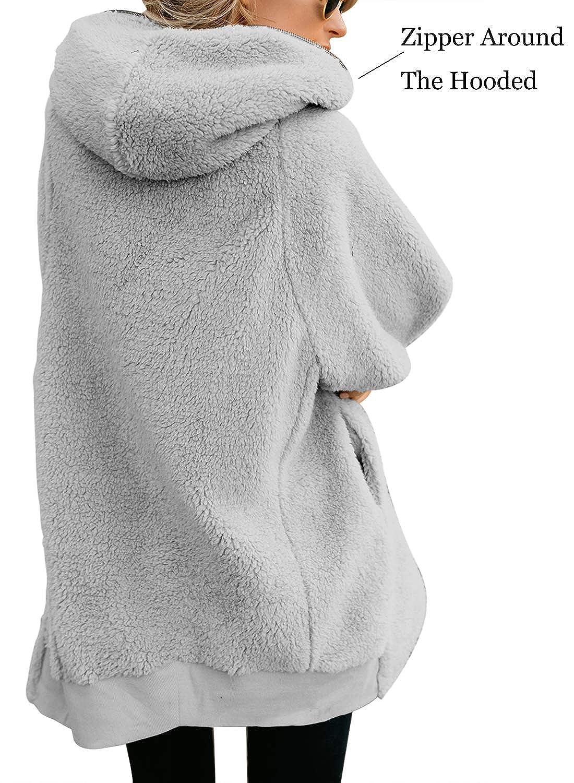 Womens Teen Fleece Long Parka Solid Oversized Zipper Hooded Fluffy Cardigans Jacket Outwear with Pocket