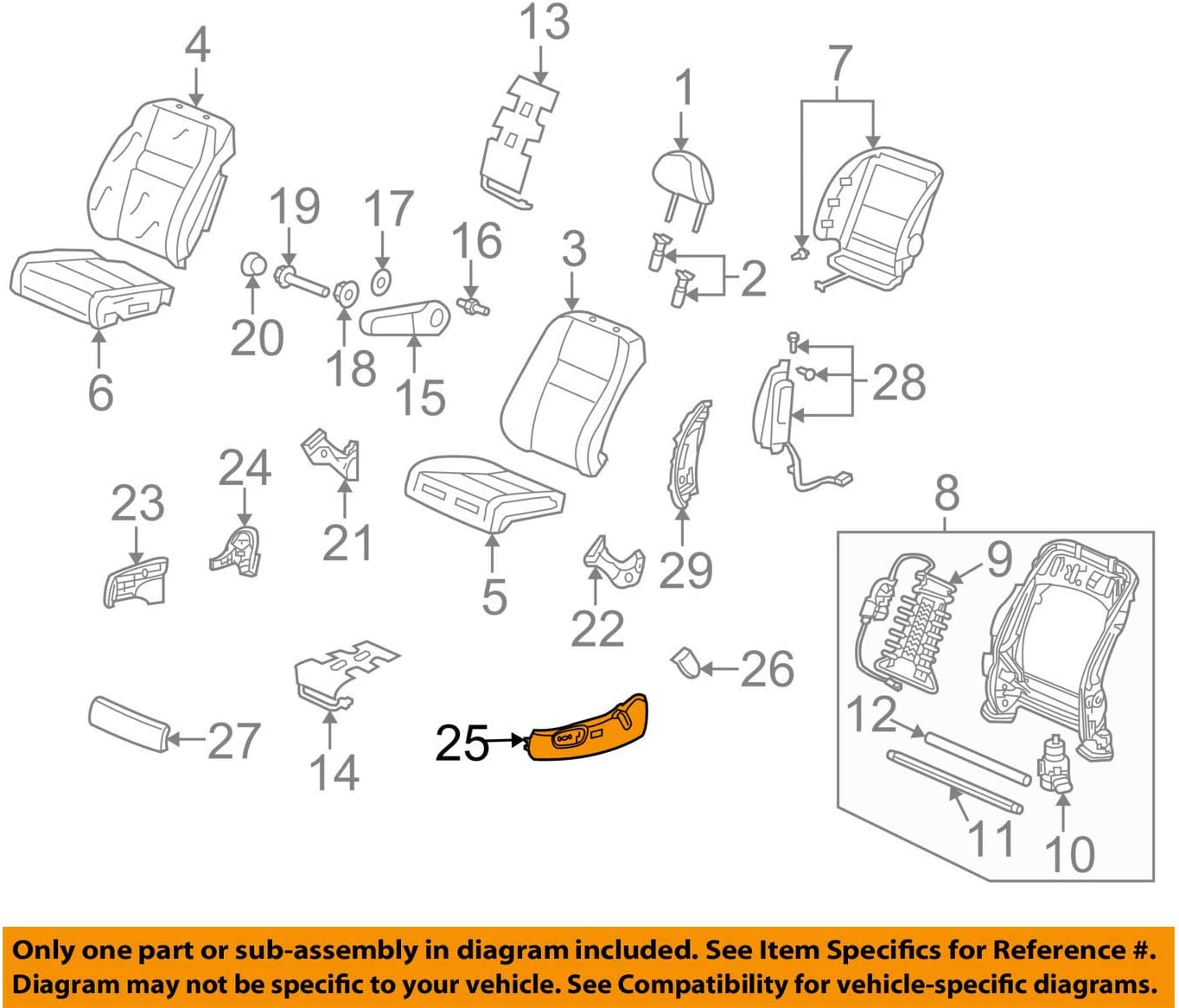 Honda Genuine 81638-SWA-A51ZA Seat Reclining Cover