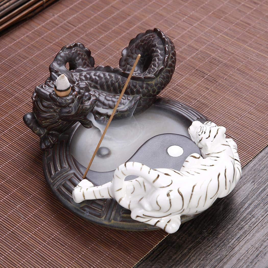 Coocle Drache - Porta incenso a forma di pesce, con 10 bastoncini di incenso Pesce