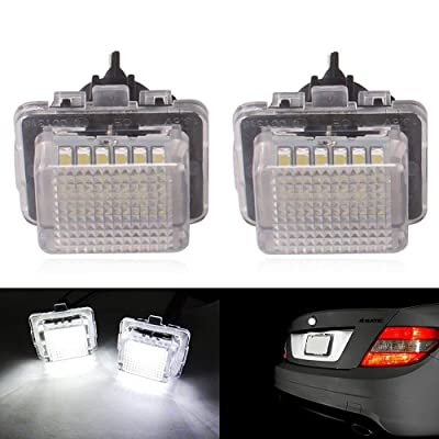 2pcs Car License Plate Light for Mercedes-benz C E S CL Class Error Free 3W 18 Led White Rear License Tag Lights Rear Number Plate Lamp Direct Replacement: Automotive
